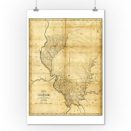 Illinois - Panoramic Map (9x12 Art Print, Wall Decor Travel Poster) ()