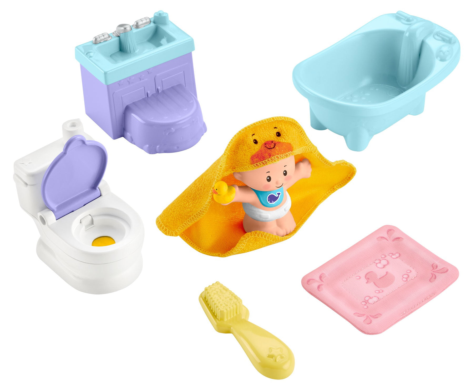 Fisher-Price Little People Wash & Go Play Set For Toddlers, 7-Pieces