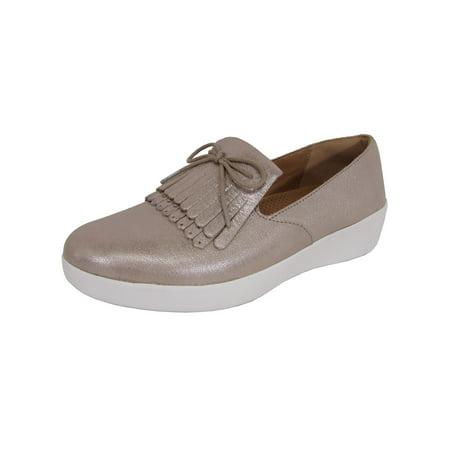 57cc7c19 FitFlop - Womens Superskate Fringe-Metallic Leather Loafer Shoes -  Walmart.com