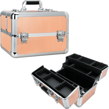 Ver Beauty Cosmetic Makeup Train Case Portable Travel Bag Organizer with 4 Extendable Trays and Keylocks in Rose Gold