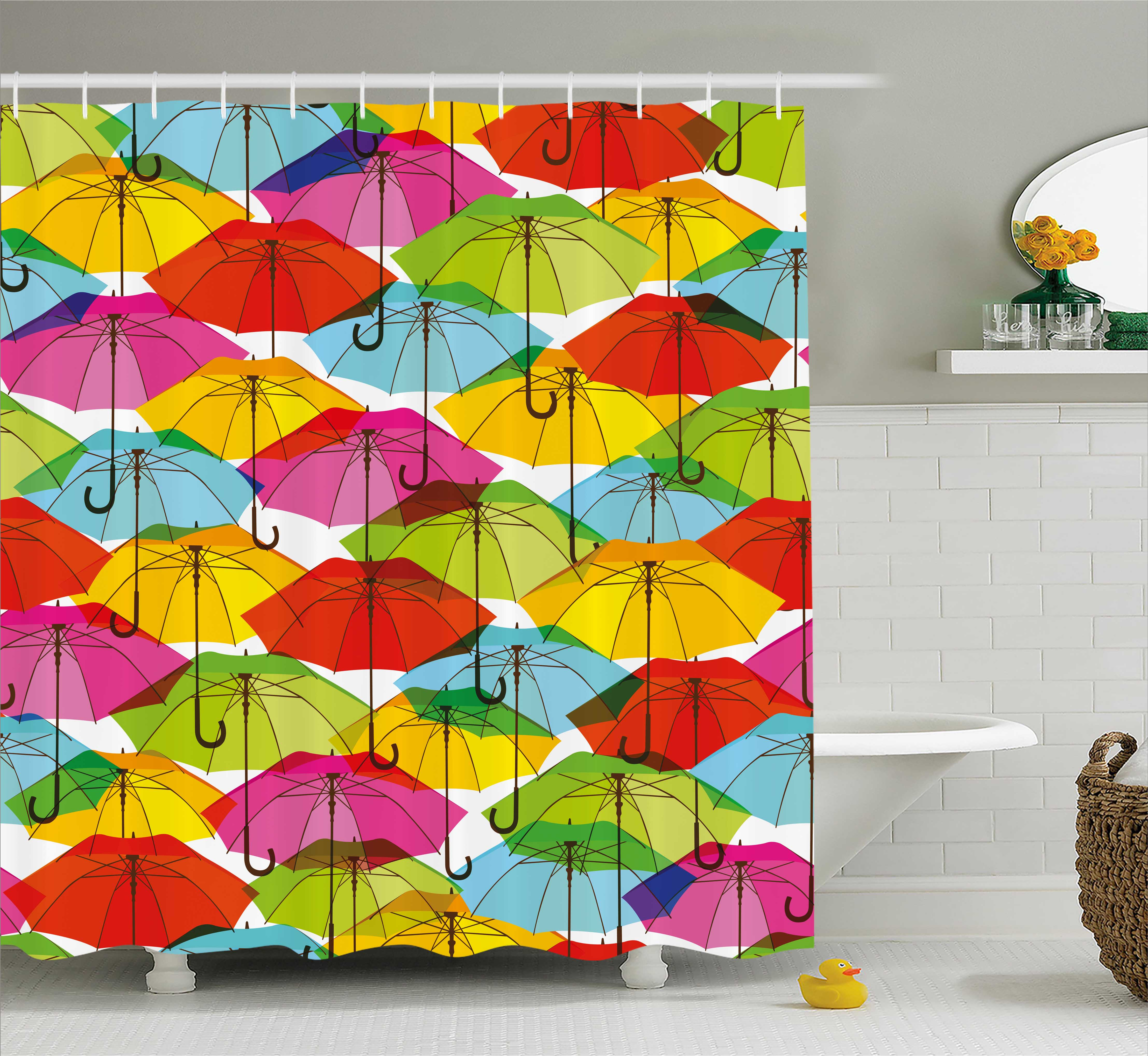 Modern Shower Curtain, Colorful Umbrella Figures in Vibrant Tones Abstract Rain Themed Artistic Display, Fabric Bathroom Set with Hooks, 69W X 75L Inches Long, Multicolor, by Ambesonne