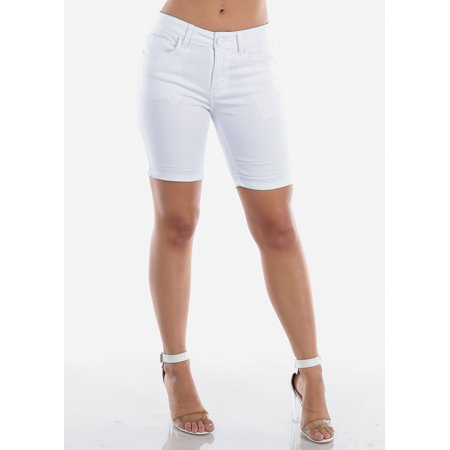 Womens Juniors Cute Casual Basic Must Have Summer Low Rise Solid White Stretchy Cotton Spandex Jean Denim Bermuda Shorts10335W