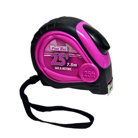 The Original Pink Box PB25LTM 25-Foot Auto Locking Tape Measure, Pink Bostitch 25' Tape Measure