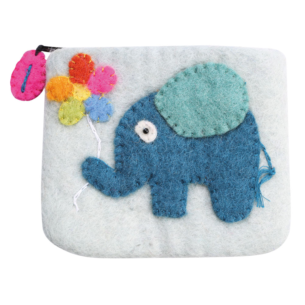 Women's Felted Wool Coin Pouch Purse - Elephant