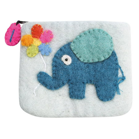 Women's Felted Wool Coin Pouch Purse - Elephant (Felting Purse)