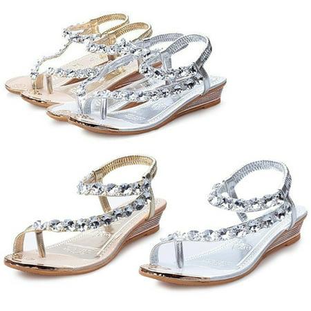 968d7577b Meigar - Womens Sandals Silver Diamond Wedding Party Sandal Shoes Low Heels  Casual Shoe - Walmart.com
