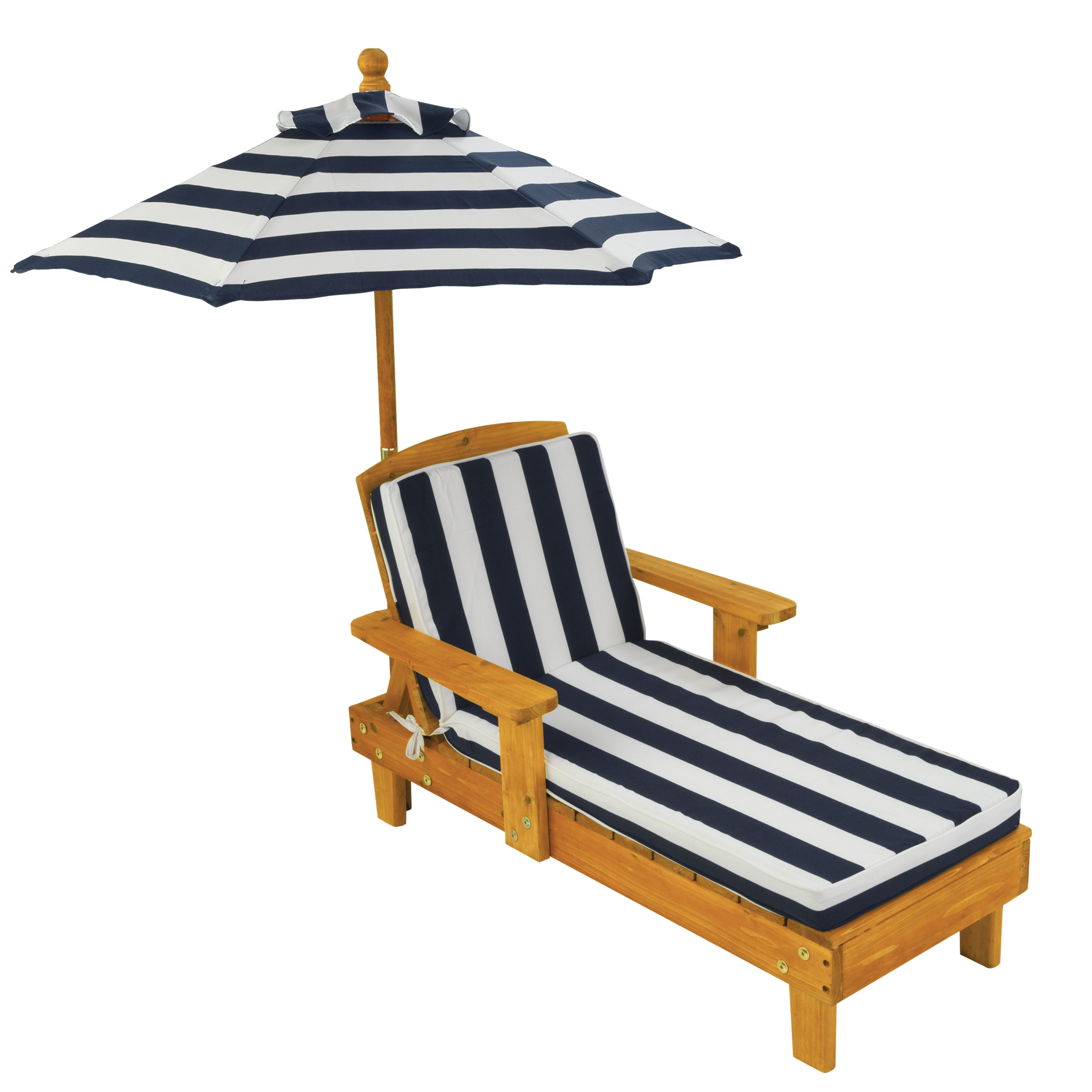 KidKraft Outdoor Chaise Lounge Children's Chair with Umbrella and Cushion, Navy and White Striped Fabric