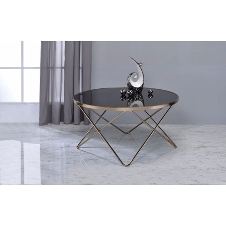 Alluring Coffee Table, Black Glass & Gold - Black And Gold Table