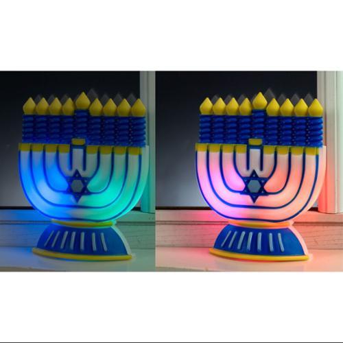 "6"" Battery Operated Color Changing LED Chanukah Hanukkah Window Decoration"