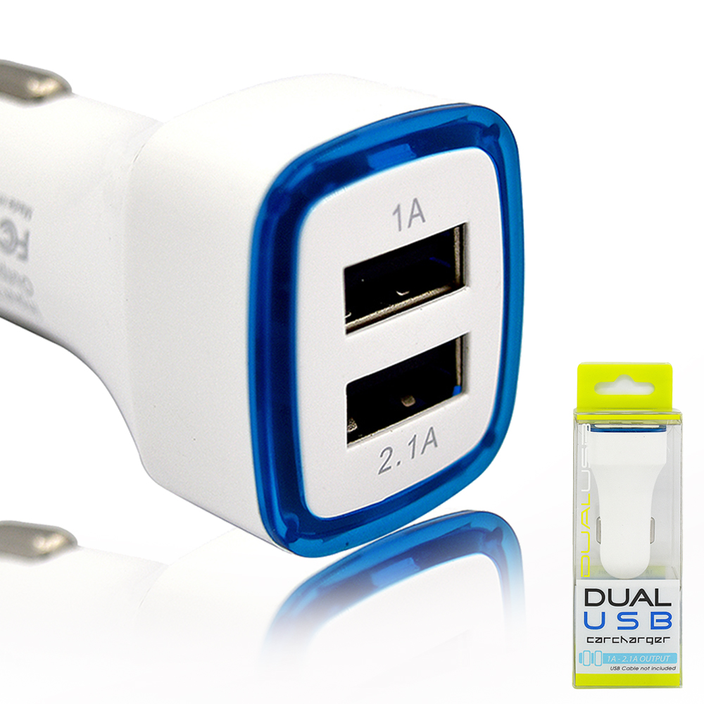 Mini Universal Vehicle Multiple Port Dual USB Car Charger With Blue LED Indicator White