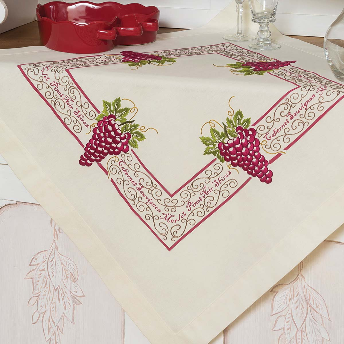 Herrschners® Bunch of Grapes Table Topper Stamped Embroidery Kit