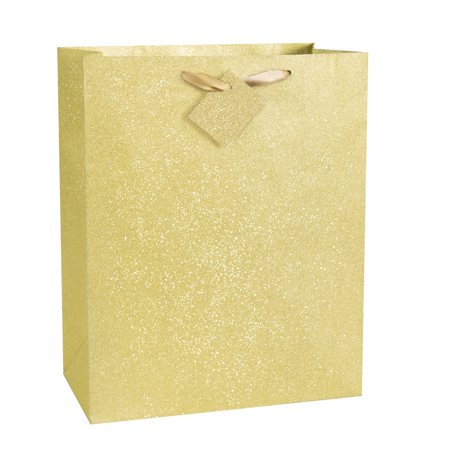 Glitter Gift Bag, 13 x 10.5 in, Gold, 1ct](Children's Gift Bags)