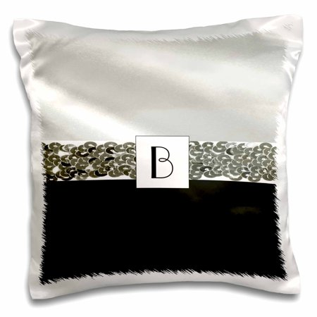 (3dRose Print of Letter B On White Satin n Black With Silver Band - Pillow Case, 16 by 16-inch)