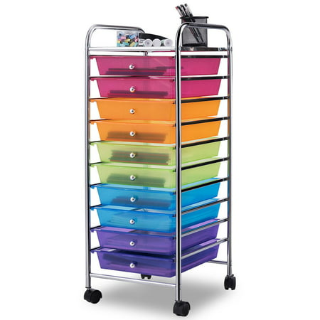 Costway 10 Drawer Rolling Storage Cart Sbook Paper Office School Organizer Color