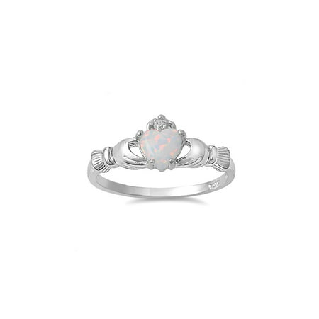 Love Loyalty Friendship Claddagh White Simulated Opal Cubic Zirconia Ring Sterling Silver 925 Size 10