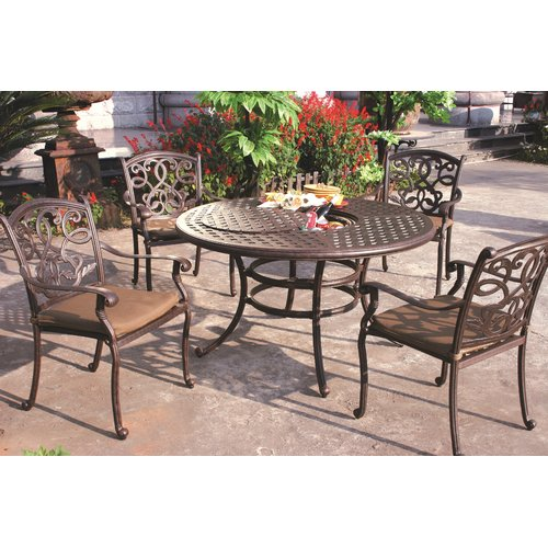 Fleur De Lis Living Calhoun 5 Piece Dining Set with Cushions
