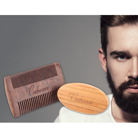 Codream Men's Shaving Set Sandalwood Beard Comb Boar Bristles Mustache Brush for Stylish -