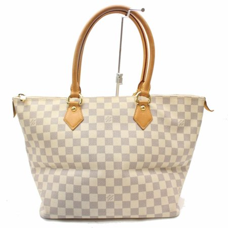 Louis Vuitton Saleya Damier Azur Mm Zip 869031 White Coated Canvas Tote PRE-WONED (Louis Vuitton Bags New)