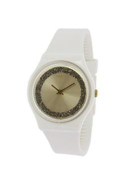 Swatch Women's Sparklelight GW199 Matte White Silicone Quartz Fashion Watch