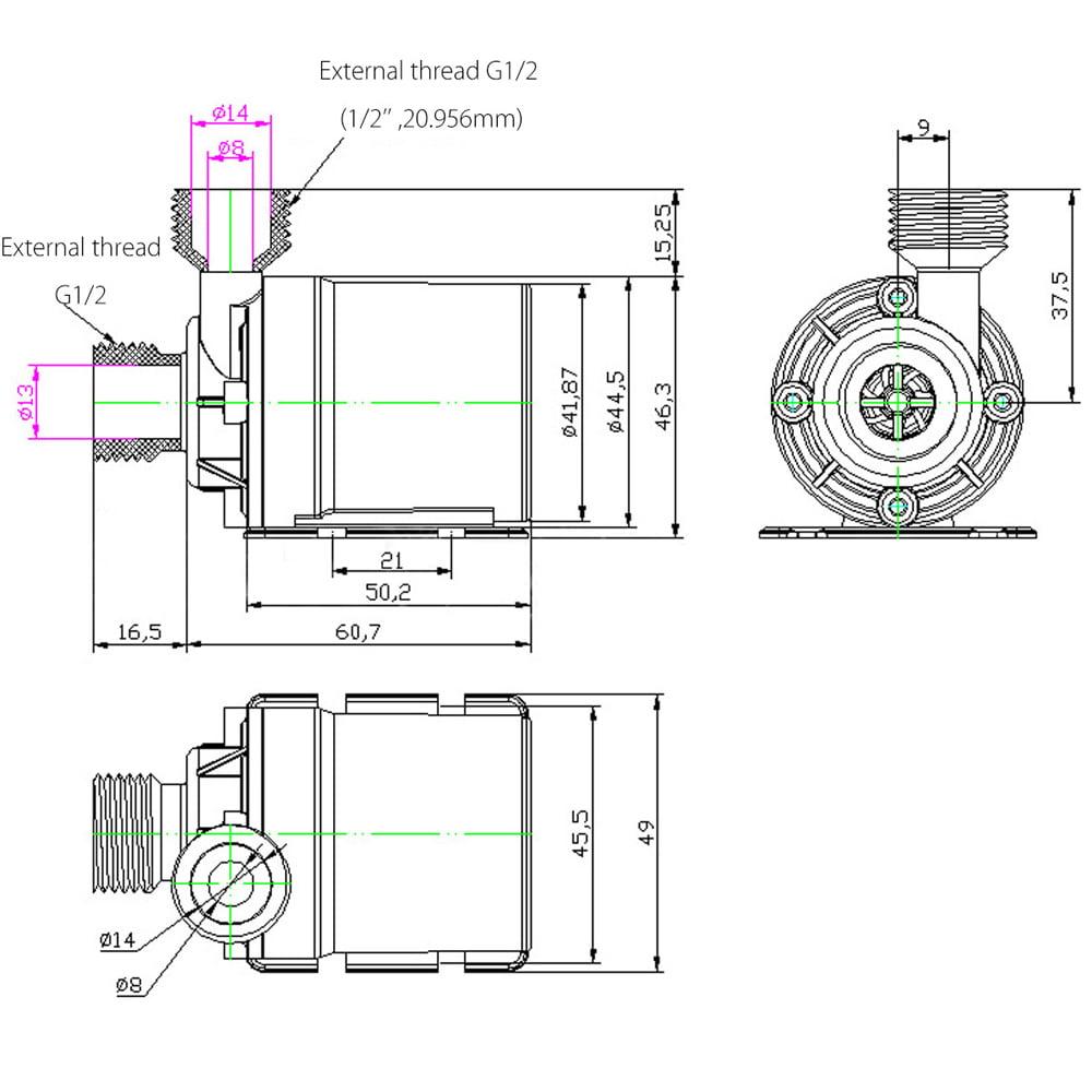 Ultra-leise 12V 800L//H DC 19W Wasser Pumpe Umwälzpumpe Garten Pumpe 100/% neu