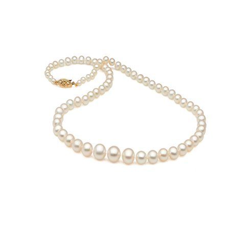 Necklace of Graduated Freshwater Pearls with 14K Yellow Gold Clasp