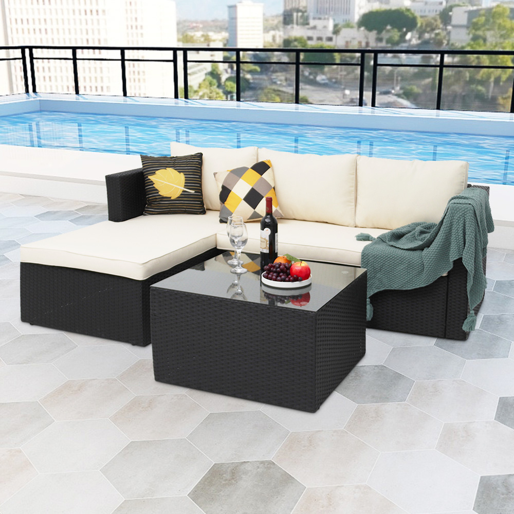 Abble 4 Piece Rattan Sectional Seating Group With Cushions Walmart Com Walmart Com