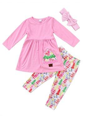 Kids Toddler Baby Girls Shirt Top Dress Pants Headband Christmas Outfit Clothes Set