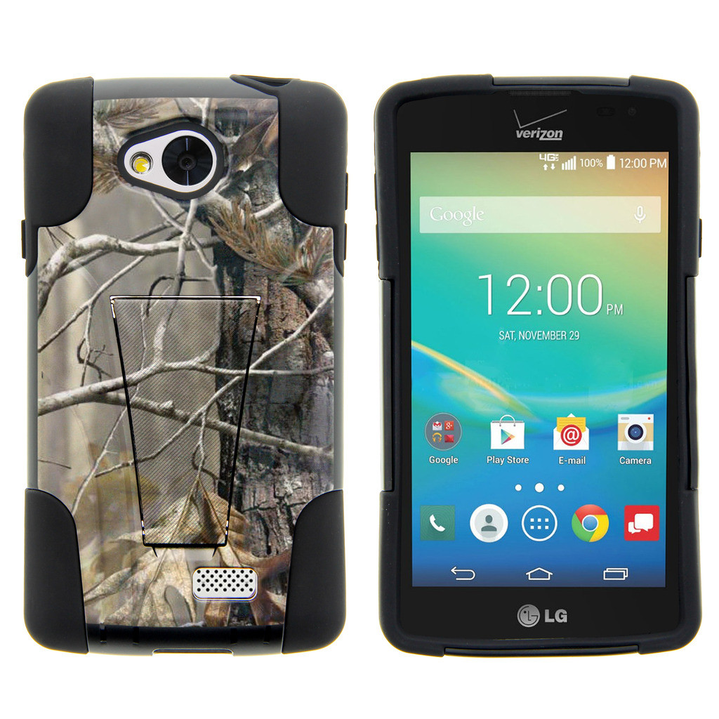LG Tribute, LG Transpyre and LG Optimus F60 STRIKE IMPACT Dual Layered Shock Resistant Case with Built-In Kickstand by Miniturtle® - Fallen Leaves Camo