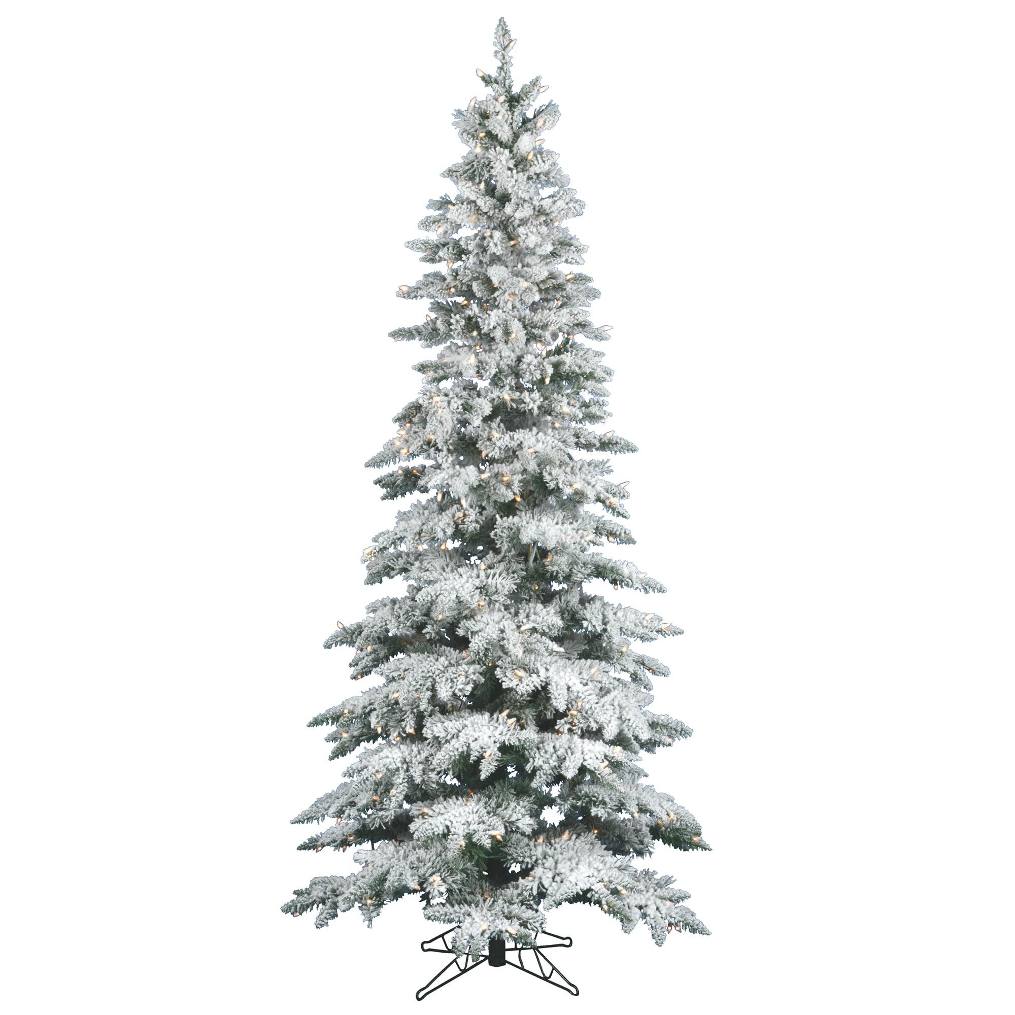 "Vickerman Pre-Lit 6.5' x 39"" Slim Utica Dura-Lit Artificial Christmas Tree, Flocked White on Green, Clear Lights"