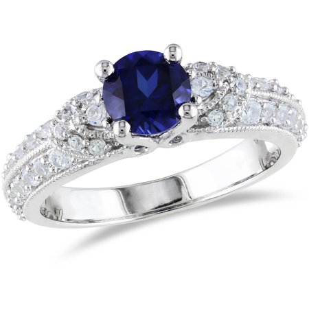1-2/3 Carat T.G.W. Created Blue and White Sapphire Sterling Silver Engagement Ring