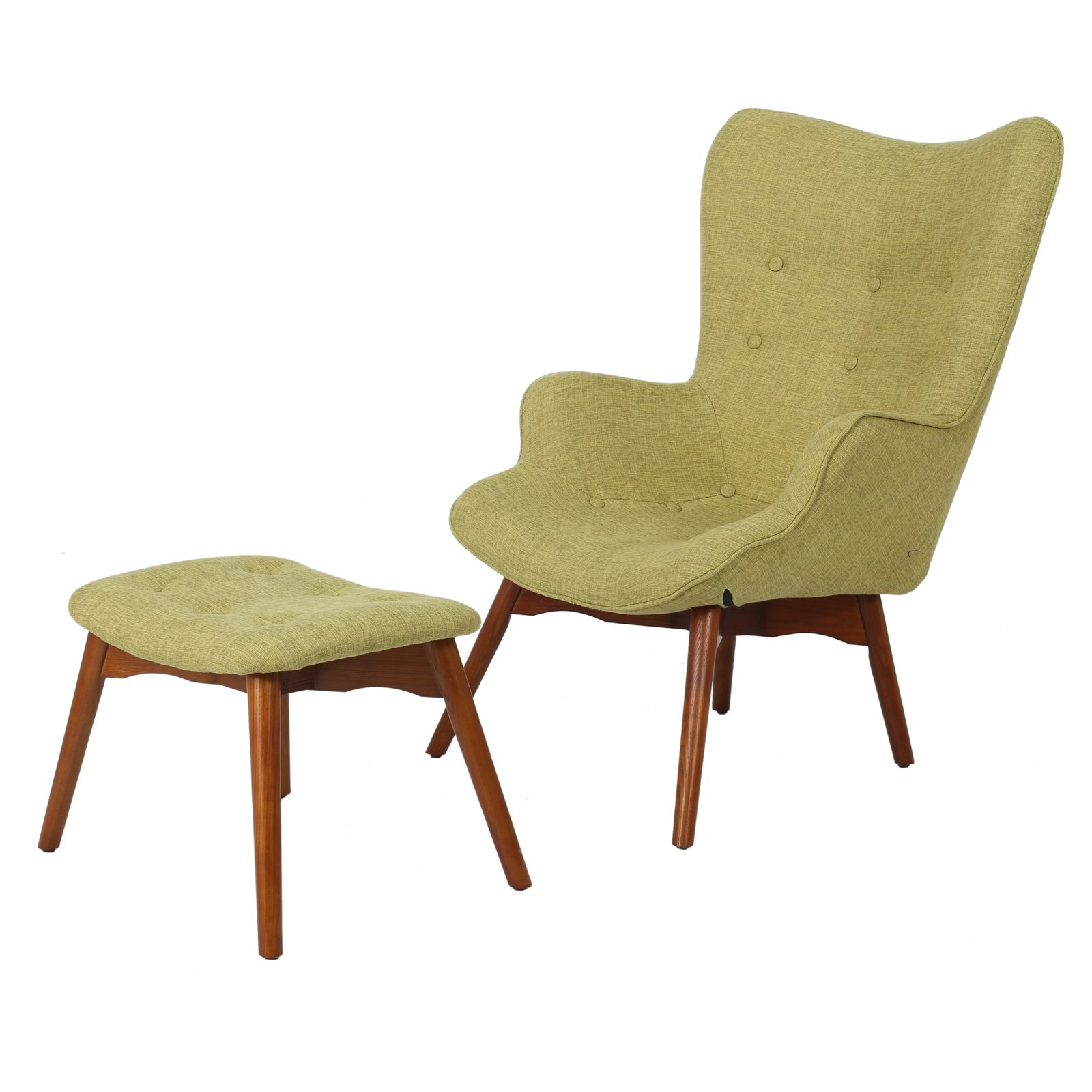 Anders Mid-Century Arm Chair with Ottoman