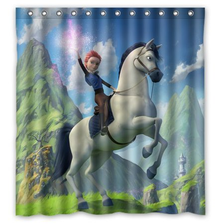 Deyou Star Stable Horse Shower Curtain Polyester Fabric Bathroom Shower Curtain Size 60X72 Inches