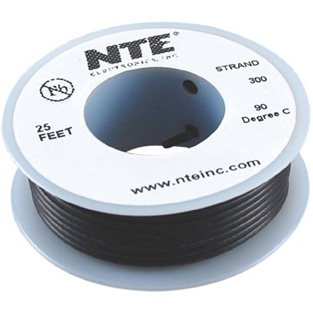 Nte Electronics Part (WH26-00-25 Hook Up Wire, Stranded, Type 26 Gauge, 25' Length, Black By NTE Electronics )