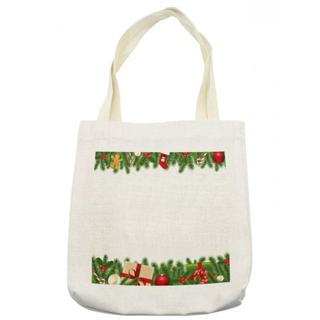 Christmas Tote Bag, Celebration Borders Fir Tree Classic Garland Gingerbread Man Lollipops Presents, Cloth Linen Reusable Bag for Shopping Books Beach and More, 16.5