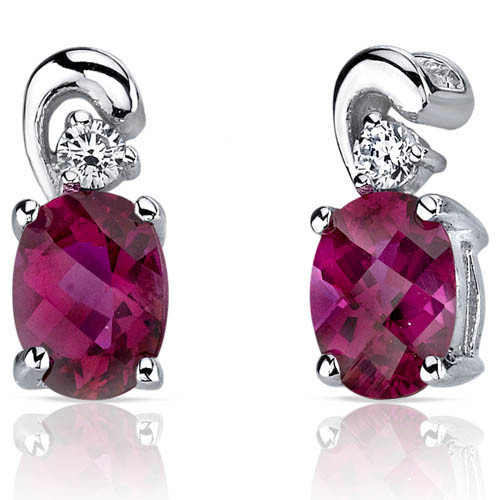 Oravo Sleek and Radiant 1.50 Carats Ruby Earrings in Sterling Silver