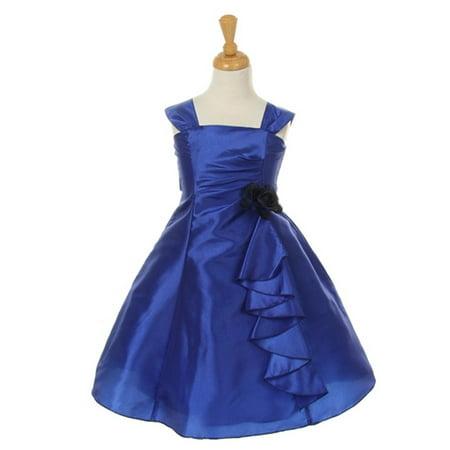 Cinderella Couture Little Girls Royal Blue Taffeta Corsage Flower Girl Dress 2 6