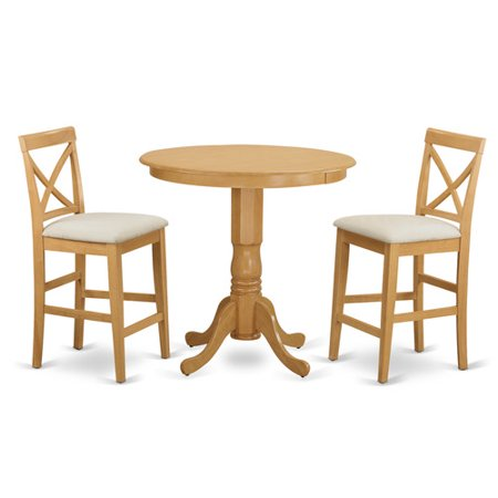 Japb3 oak c 3 piece counter height set pub table and 2 for 3 piece dining room table
