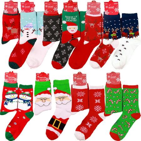 Mens Womens Christmas Cotton Socks Santa Snowman Snowflake Socks Stocking (Best Stocking Fillers For Men)