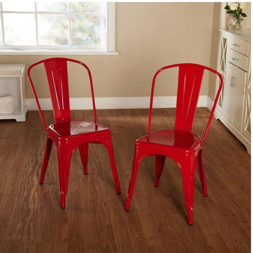 Milan Metal Chair, Set of 2, Multiple Colors