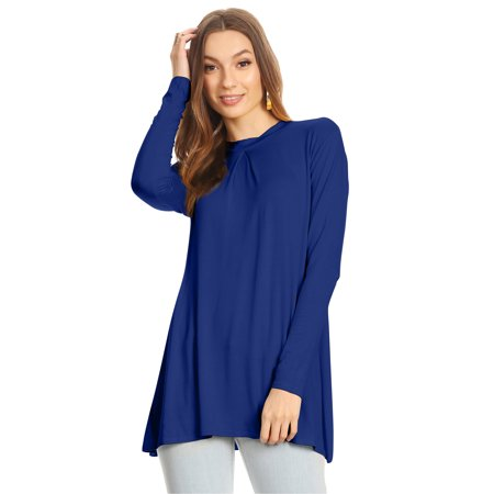18c31048020bcb Simlu - Womens Long Sleeve Tunic Top with Front and Back Pleat- Made in USA  - Walmart.com