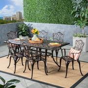 Clayton Outdoor 7 Piece Cast Aluminum Rectangular-Table Dining Set, Shiny Copper
