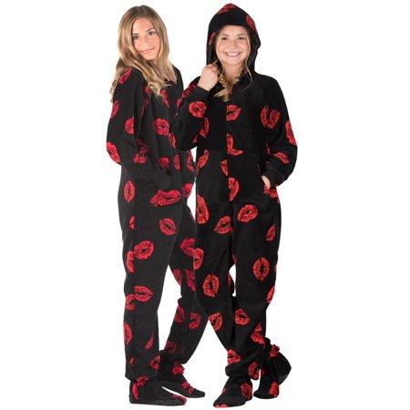 f2903d874f Footed Pajamas - Footed Pajamas - Pucker Up Kids Hoodie Chenille Onesie -  Walmart.com