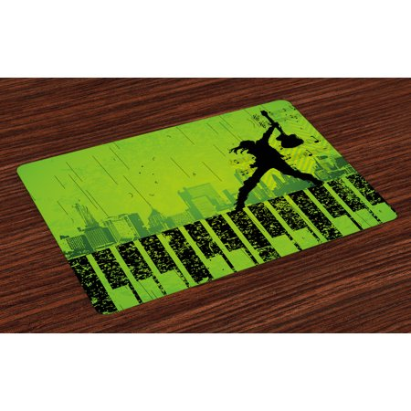 Popstar Party Placemats Set of 4 Music in the City Theme Singer with Electric Guitar on Grunge Backdrop, Washable Fabric Place Mats for Dining Room Kitchen Table Decor,Lime Green Black, by Ambesonne