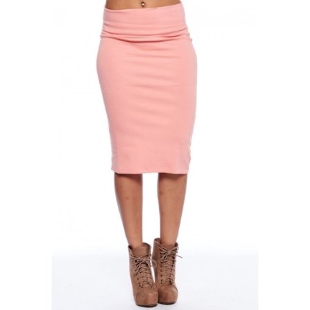 WOMENS FORMAL COMFORT SOLID CASUAL HIGH WAIST PENCIL LONG SKIRT 201L-Pink-S