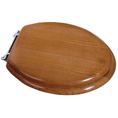 Exquisite Elongated Wood Toilet Seat With Chrome Hinges, Oak