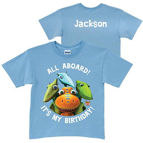 Personalized Dinosaur Train Birthday Blue Toddler Boy T-Shirt by Generic