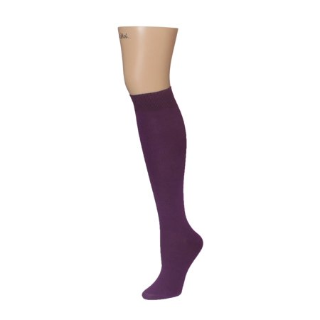 MeMoi Bamboo Blend Solid Knit Knee High Socks One Size / ML-515 Violet - Bamboo Tights