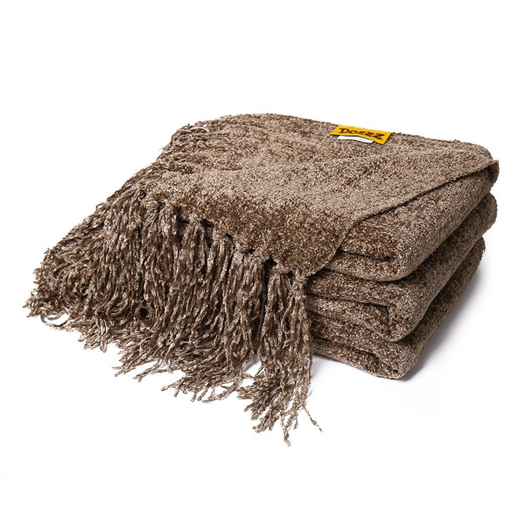 Dozzz Luxury Decorative Throw Blanket Sofa Couch Chenille 60 X 50 Inches Brown