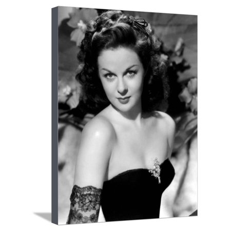 1940's Photograph - Susan Hayward (1918 - 1975) actrice americaine dans les annees 40, 1940's (b/w photo) Stretched Canvas Print Wall Art