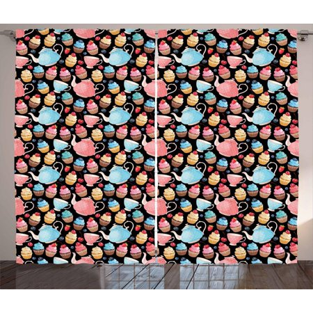 Tea Curtains 2 Panels Set, Sweet Muffins Cupcakes with Blueberries Polka Dots Style Vintage Ceramic Teapots Kitsch, Window Drapes for Living Room Bedroom, 108W X 63L Inches, Multicolor, by Ambesonne